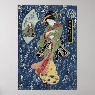 Poster Geisha d'Eisen dans le kimono vert