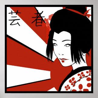 Poster Geisha moderne de Soleil Levant