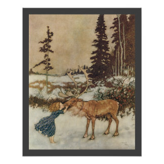 Poster Gerda vintage et le renne par Edmund Dulac