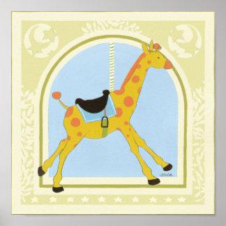 Poster Girafe avant juin Bruyère Vess de carrousel