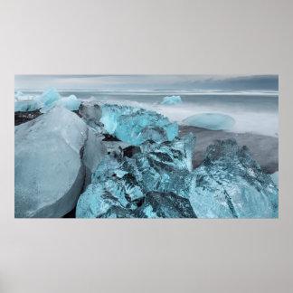 Poster Glace bleue sur le paysage marin de plage, Islande