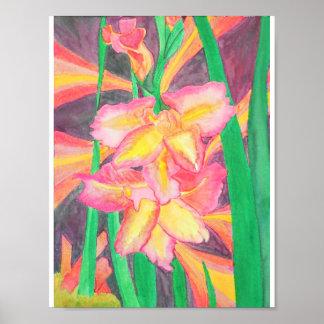 Poster Gladiolas rose avec des cristaux et l'énergie de