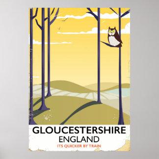Poster Gloucestershire, affiche de voyage de train de