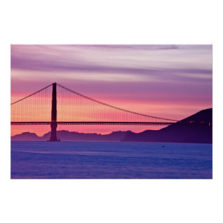 Poster Golden gate bridge au coucher du soleil