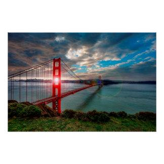 Poster Golden gate bridge avec Sun brillant