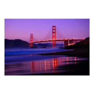 Poster Golden gate bridge sur la plage de Baker au crépus