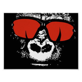 Poster Gorille avec des verres