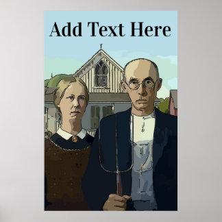 Poster Gothiques américains, ajoutent le texte