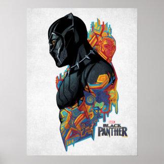 Poster Graffiti de tribal de panthère noire de la