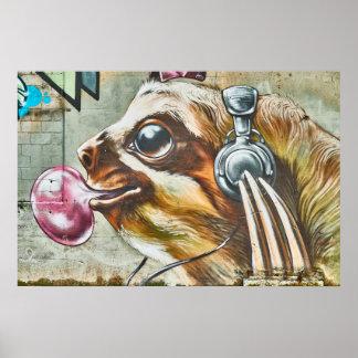 Poster Graffiti d'écouteurs de Bubblegum de paresse d'art