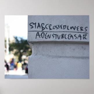 Poster Graffiti NYC de Shakespeare d'amants croisé par