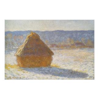 Poster Grainstack dans le matin, effet de neige par