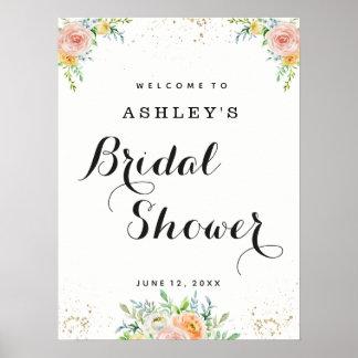 Poster Grand élégant floral nuptiale de signe bienvenu de