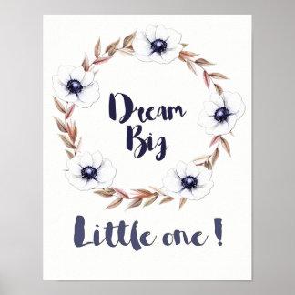 Poster Grand petit le rêveur avec les fleurs blanches