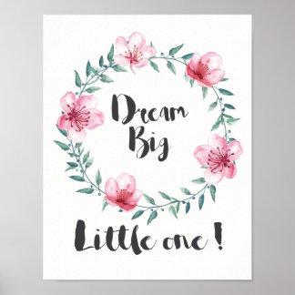 Poster Grand petit le rêveur avec les fleurs roses