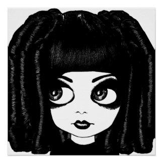 Poster Grande affiche d'art de cheveux bouclés de poupée