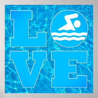 Poster Grande affiche de piscine d'AMOUR de bain pour des