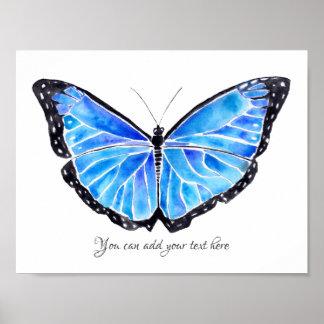 Poster Grande aquarelle bleue de papillon avec l'affiche