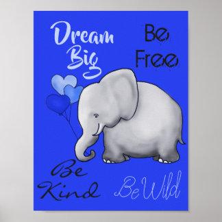 Poster Grande crèche mignonne rêveuse inspirée d'éléphant