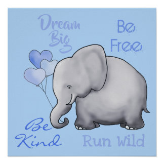 Poster Grande crèche rêveuse inspirée mignonne d'éléphant