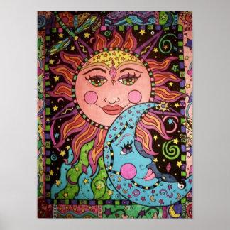 Poster Graphique céleste de Sun et de lune