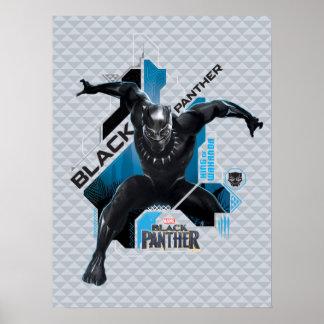 Poster Graphique de pointe noir de caractère de la