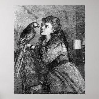 Poster Gravure à l'eau-forte vintage de fille et de
