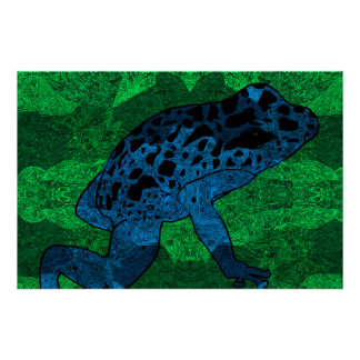 Poster Grenouille bleue