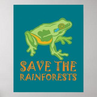 Poster grenouille d'arbre d'économie-le-forêts tropicales