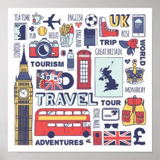 Poster Griffonnages de voyage de l'Angleterre
