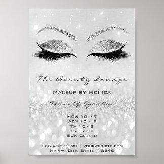 Poster Gris de salon de beauté de parties scintillantes