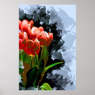 Poster Groupe abstrait de tulipes oranges rouges