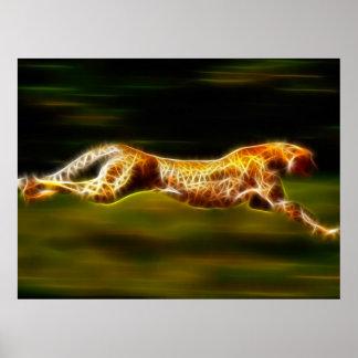 Poster Guépard rapide superbe chassant sa proie