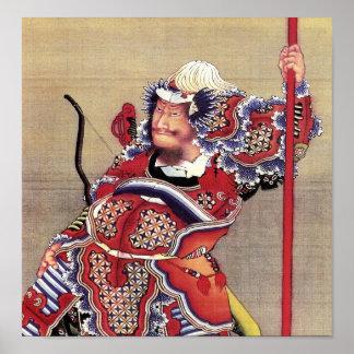 Poster Guerrier, beaux-arts de Japonais de Hokusai