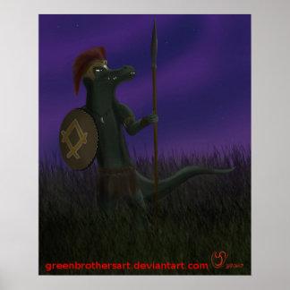 """Poster guerrier de crocodile du clan de fujo 19"""" x13"""","""