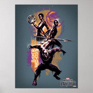 Poster Guerriers de la panthère noire | Wakandan peints