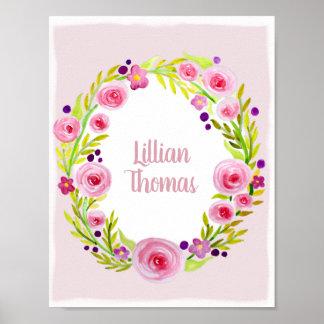 Poster Guirlande de fleur d'aquarelle de bébé et crèche