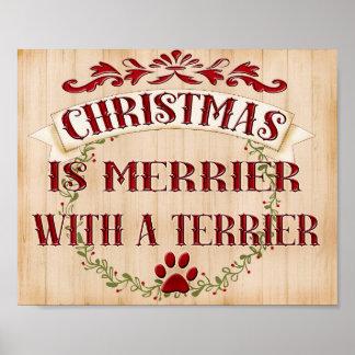 Poster Guirlande de Noël de Terrier. races de chien