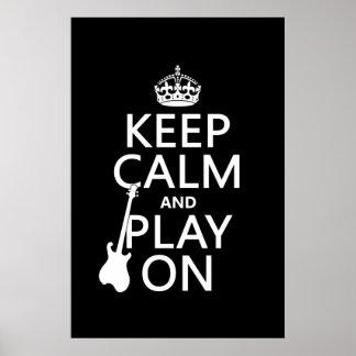Poster Guitare - gardez le calme et le jeu sur (chaque
