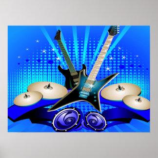 Poster Guitares électriques, tambours et haut-parleurs