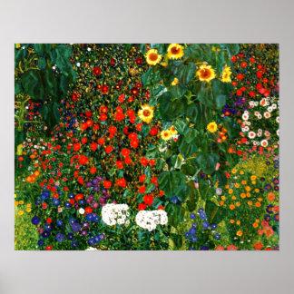 Poster Gustav Klimt - jardin de ferme avec des tournesols