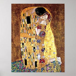 Poster Gustav Klimt - le baiser - art vintage Nouveau