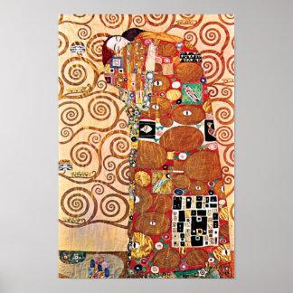 Poster Gustav Klimt - l'étreinte - peinture de beaux-arts
