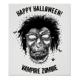 Poster Halloween heureux - masquez le noir/blanc de zombi