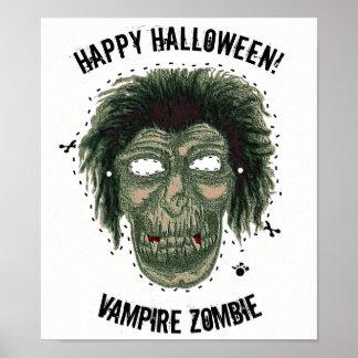 Poster Halloween heureux - zombi de vampire de masque
