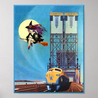 Poster Halloween sur le chemin de fer
