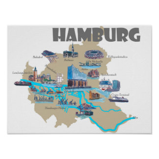 Poster Hambourg accentue la carte