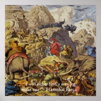 Poster Hannibal Barqa en affiche de citation des Alpes