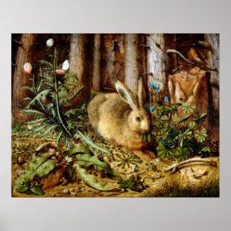 Poster Hans Hoffmann un lièvre dans la forêt