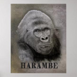Poster Harambe (dessin de graphite)